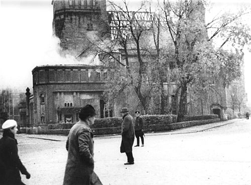 Synagogue smouldering after 'Kristallnacht' in Bamberg, November 1938.