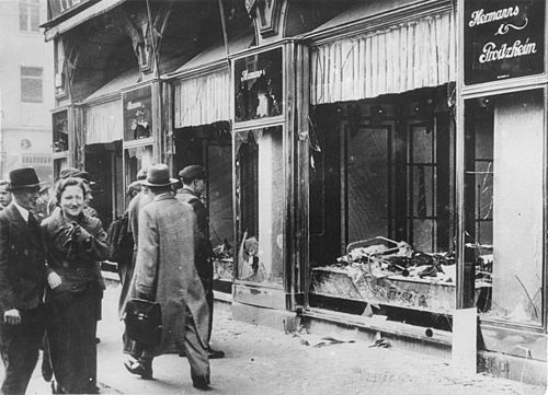 Wrecked and pillaged windows of Jewish shops