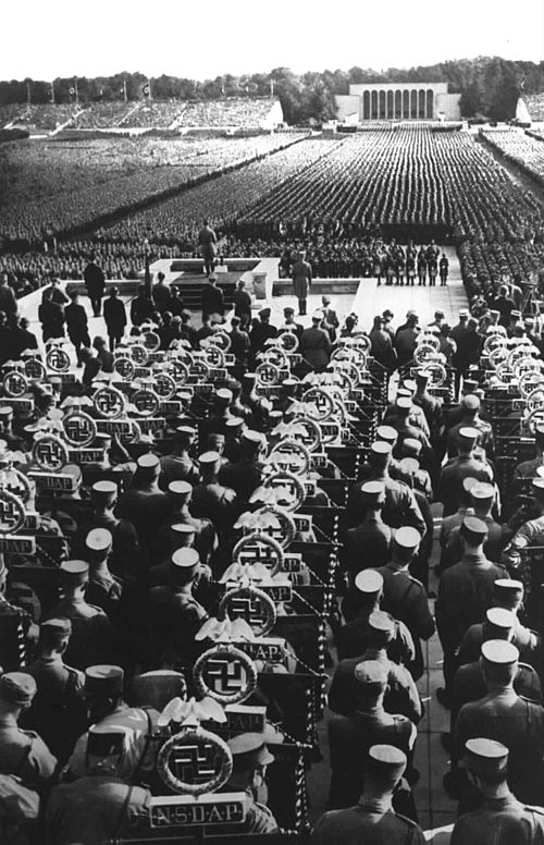 Hitler speaking at the Nazi party rally in Nuremberg, 1935.