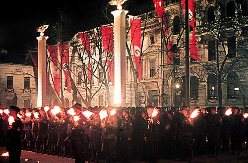 Nazi celebration in honour of Adolf Hitler.