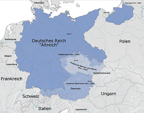 The extent of the German Reich in 1939