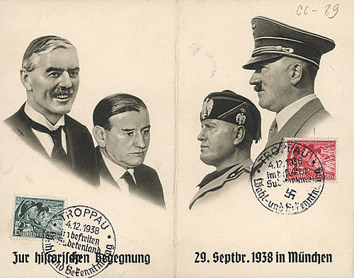 Postcard commemorating the Munich Pact