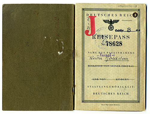 Walter Goldstein's German passport, issued January 23, 1939.
