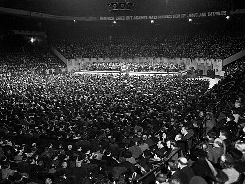 Anti-Nazi rally, New York City's Madison Square Garden on 21 November 1938.